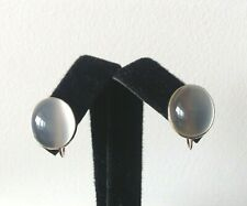 Vintage 18K Gold Oval, Cabochon Moonstone Earrings Non-Pierced