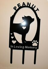 Personalized Chihuahua Dog Pet Memorial Grave Marker Cemetery Plasma Metal Art
