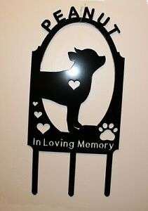 Personalized Chihuahua Dog Pet Memorial Grave Marker Cemetery Plasma Metal Art