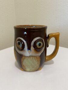 Gibson Owl Ceramic Coffee Mug Cup Glazed Brown Hand Painted Super Cute Owl