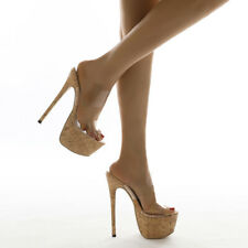Womens High Heels Summer Open Toe Clear Pvc Slippers Platform Shoes Sandals Size