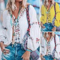 ZANZEA Women Long Sleeve Top Tee T Shirt Ladies Plus Size Printed Floral Blouse