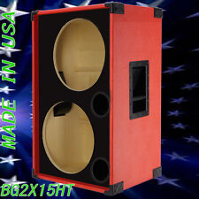 2X15 Empty Bass Guitar Speaker Cabinet Fire Red Tolex BG2X15SFRBf