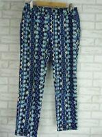 SUSSAN Casual Pants Sz 10 Blue, White print