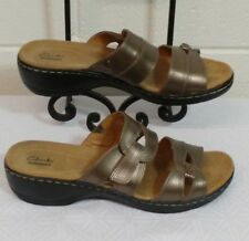 CLARKS COLLECTION SANDALS Size 11M HAYLA CANYON Leather Strap Hook & Loop Pewter