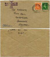 WW2 1943 RAF CENSOR NEWTOWN BUTLER ENNISKILLEN N.IRELAND to MAYORESS ROTHERHAM