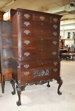 Antique Chippendale Style Bedroom Highboy Dresser Chest of Drawers