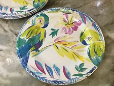 Colorful Parrots Melamine Dinner Plates. Artistic Accents. Set Of 4. Durable New