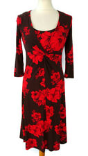 NEW £55 Laura Ashley Size 8 Orange Brown Red Knot Front Flared Midi Dress BNWT