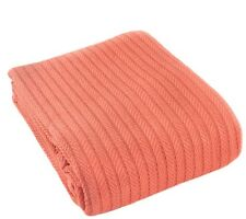 Coral Light Weight Blanket King Size 100 % Cotton Soft All Season Woven Throw