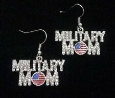 MILITARY MOM Rhinestone Word Earrings-Proud Mother-1 1/4 inches