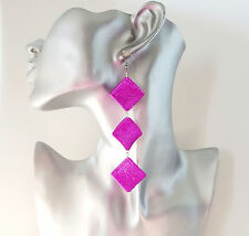 "Gorgeous 4"" long Hot pink - Fuchsia geometric patterned bead drop earrings"