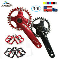 US 30T 104bcd 170 Crank 9/16in Pedal CNC MTB Bike Crankset Narrow Wide Chainring