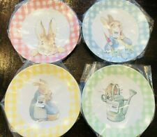 Pottery Barn Kids Beatrix Potter Easter Plates Set of 4 Gingham Bunny Peter