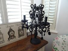 Stunning CHANDELIER 3 ARM black CRYSTAL TABLE LAMP French SHABBY CHATEAU chic