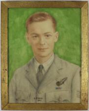 An English WW2 pastel portrait of an RAF serviceman Signed R.Swan 1945 Framed