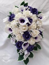 Purple Ivory Rose Calla Lilly Bouquet Wedding Bride Bridesmaid Flowergirl Groom
