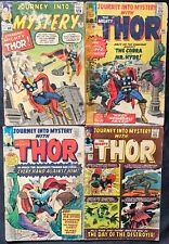 LOT OF 4 JOURNEY INTO MYSTERY COMICS (MARVEL,1963-1965) #95,105,110,119 SILVER ~