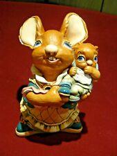 PenDelfin Handcrafted, Handpainted Stonecraft Mother Rabbit holding baby