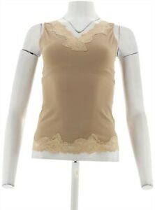 Breezies Curve Contour Flexees Shaping Lace Cami Ultim Air Nude M NEW A89993