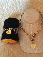 "Juicy Couture Heart Tag Gold-Tone Modern Link Chain Bracelet 7.25"" & Necklace 16"