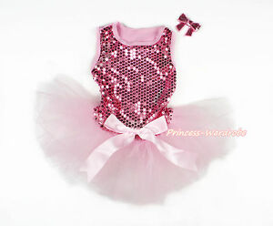 Pink Sparkle Sequins Pink Skirt Light Pink Bow Dog Pet Sleeveless Dress Outfit