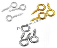 300 TIGES A VIS ATTACHES PERLES FIMO METAL ARGENTE OU DORE 8 mm CREATION BIJOUX