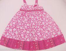 NUEVO CON ETIQUETA niña rosa y Blanco Bonito Flores veranos Vestido de algodón.