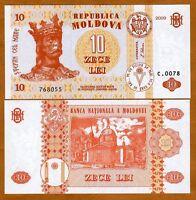 Moldova, 10 Lei, 2009, ex-USSR, P-10f, UNC