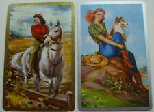 2 Single Vintage Swap Playing Cards Lovely Ladies Collie Dog White Horse Pair