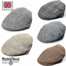100% British Made Genuine Harris Tweed Gentlemens Traditional Bunnet Flat Cap