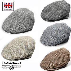 100% British Made Genuine Harris Tweed Gentlemens Traditional Bunnet Flat Cap