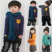 Niño Niña Bolsillo Camiseta manga larga tops de algodón blusa Sudadera 1