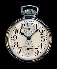 Elgin 16s 23 Jewel Veritas Wind indicator Railroad Pocket watch Near Mint