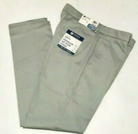 HAGGAR Premium No Iron Pants Slim Fit Stretch Fabric Flex Waist Flat Light Gray