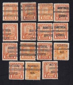 Canada used: 1928-1929 KGV Scroll 1c precancelled lot, sc# 149xx 160xx