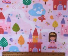 SNUGGLE FLANNEL *PRINCESS & CASTLES on PINK 100% Cotton Fabric*NEW* BTY