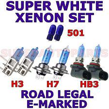 BMW SERIE 7 SALOON 1998-2001 SET H7 H3 HB3 W5W SUPER BIANCO XENON LAMPADINE