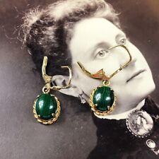 Malachite & Gold Vermeil Over Sterling Silver Earrings