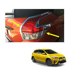 Fits Toyota Yaris Hatchback 14 2015 16 17 Tail Lamp Light Cover Chrome Trim 2 Pc