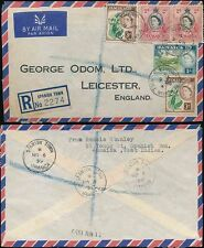 JAMAICA 1959 REGISTERED AIRMAIL SPANISH TOWN 5 stamps franking