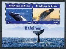 Benin 2017 CTO Whales 2v M/S Baleines Marine Mammals Animals Stamps