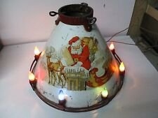 """Very Old Marvelous Noma Lighted C-6 Tin Litho Christmas Tree Stand - White - 10"""""""