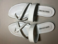 MANOLO BLAHNIK Slide Sandal Flat Leather White Size 9.5 US 39.5 EU