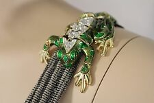 Women Gold Metal Shoulder Pin Body Jewelry Animal Green Frog Broach Toad Charm