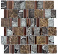 Glasmosaik Naturstein Beige Braun Multiformat Fliesenspiegel 88-1220 | 1 Matte