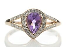 Diamond & Pear Shaped Amethyst 9ct Rose Gold Cluster Set Ring Cert AGI FREE Ship