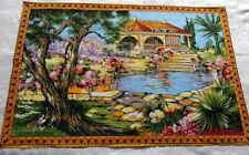 Vintage cotton bark cloth tea towel Sonacott St. Jean Cap Ferrat Riviera 29x20