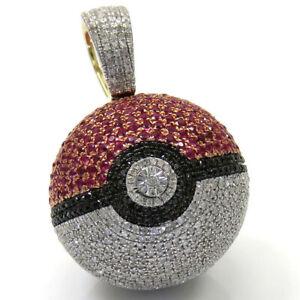 2.20 ct Round Ruby, Black & White Sim Diamond Men's Poke Ball Pendant 925 Silver