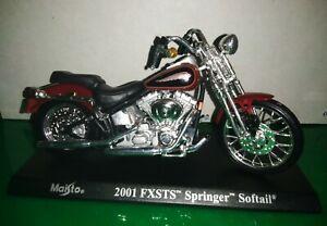 Moto Motocicletta Maisto Harley Davidson 2001 FXSTS Springer Softail Scala 1/18
